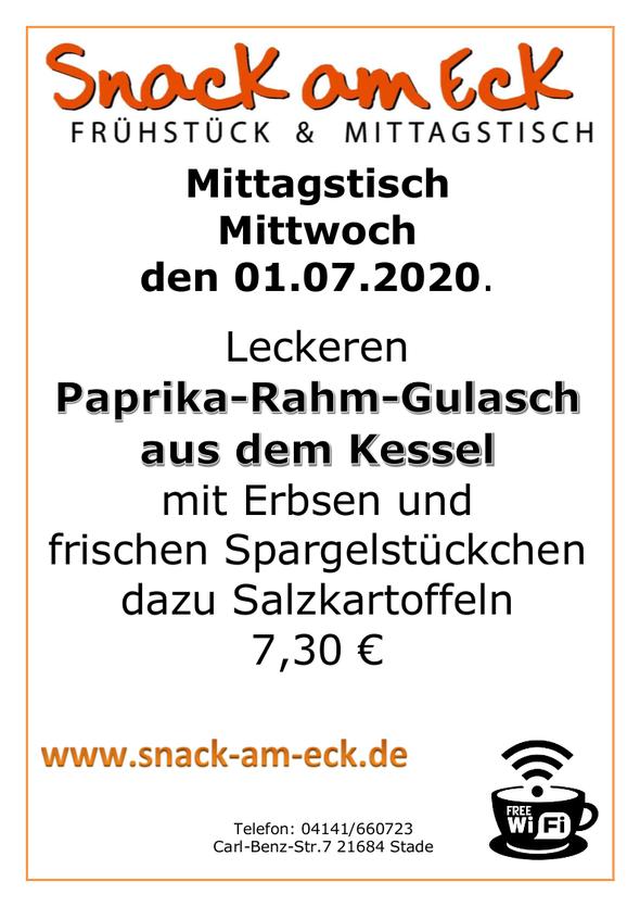 Mittagstisch am Mittwoch den 01.07.2020: Leckeren Paprika-Rahm-Gulasch aus dem Kessel mit Erbsen und frischen Spargelstückchen dazu Salzkartoffeln 7,30 €