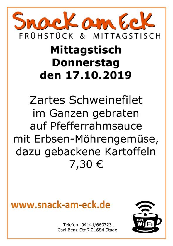 Mittagstisch am Donnerstag den 17.10.2019: Zartes Schweinefilet im Ganzen gebraten auf Pfefferrahmsauce mit Erbsen-Möhrengemüse, dazu gebackene Kartoffeln 7,30 €