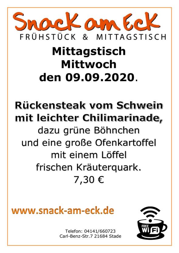 Mittagstisch am Mittwoch den 09.09.2020: Rückensteak mit leichter Chilimarinade, dazu grüne Böhnchen und eine große Ofenkartoffel mit einem Löffel  frischen Kräuterquark. 7,30 €