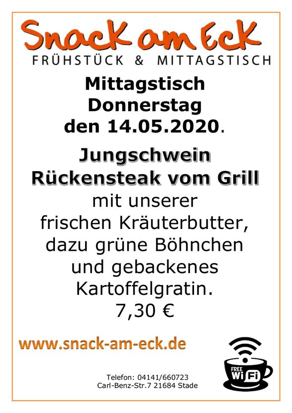 Mittagstisch am Donnerstag den 14.05.2020: Jungschwein Rückensteak vom Grill mit unserer frischen Kräuterbutter, dazu grüne Böhnchen und gebackenes Kartoffelgratin. 7,30 €
