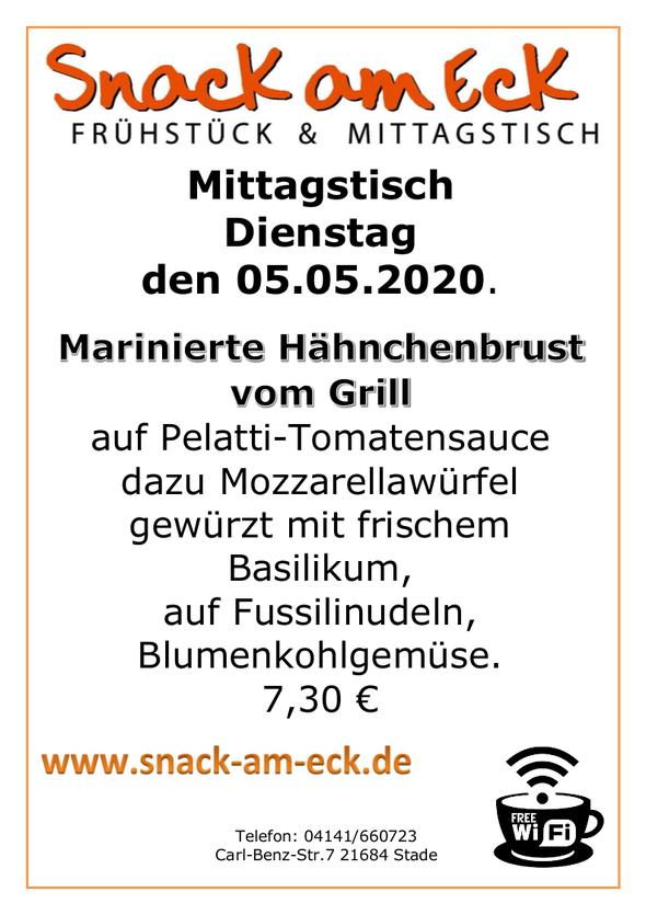 Mittagstisch am Dienstag den 05.05.2020: Marinierte Hähnchenbrust vom Grill auf Pelatti-Tomatensauce, dazu Mozzarellawürfen gewürzt mit frischem Basilikum, auf Fussilinudeln, Blumenkohlgemüse.  7,30 €