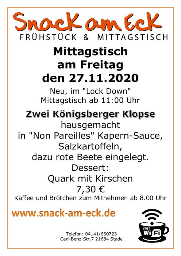"""Mittagstisch am Freitag den 27.11.2020: Zwei Königsberger Klopse hausgemacht in """"Non Pareilles"""" Kapern-Sauce, Salzkartoffeln, dazu rote Beete eingelegt. Dessert: Quark mit Kirschen 7,30 €"""