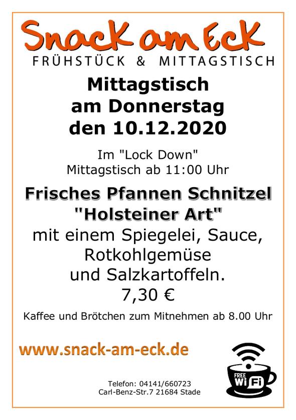 """Mittagstisch am Donnerstag den 10.12.2020: Frisches Pfannen Schnitzel """"Holsteiner Art"""" mit einem Spiegelei, Sauce, Rotkohlgemüse und Salzkartoffeln. 7,30 €"""