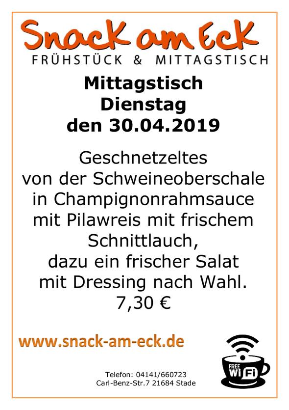 Mittagstisch am Dienstag den 30.04.2019: Geschnetzeltes von der Schweineoberschale in Champignonrahmsauce mit Pilawreis mit frischen Schnittlauch, dazu ein frischer Salat mit Dressing nach Wahl.  6,90 €