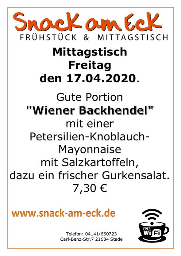 """Mittagstisch am Freitag den 17.04.2020: Gute Portion knusprige """"Wiener Backhendel"""" mit einer frischen Petersilien-Knoblauch-Mayonnaise mit Salzkartoffeln, dazu ein frischer Gurkensalat. 7,30 €"""