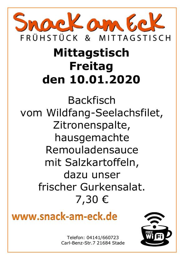 Mittagstisch am Freitag den 10.01.2019: Backfisch vom Wildfang-Seelachsfilet, Zitronenspalte,hausgemachte Remouladensauce mit Salzkartoffeln, dazu unser frischer Gurkensalat. 7,30 €