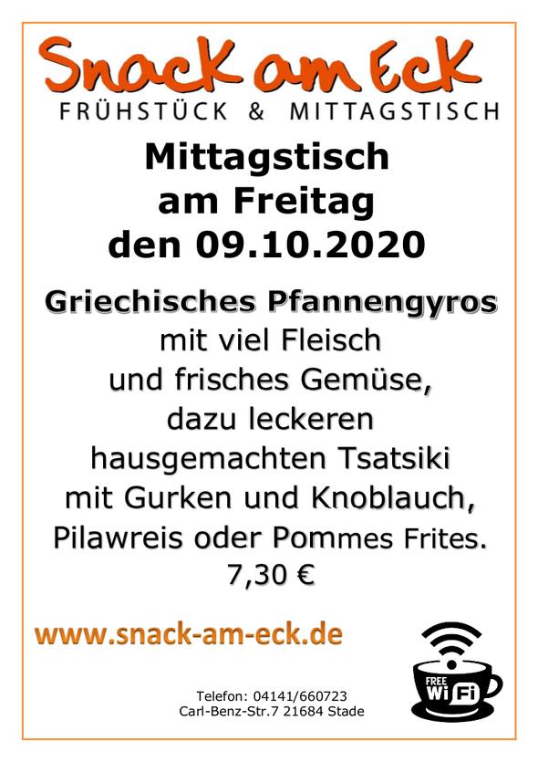 Mittagstisch am Freitag den 09.10.2020: Griechisches Pfannengyros mit viel Fleisch und frisches Gemüse, dazu leckeren hausgemachten Tsatsiki mit Gurken und Knoblauch, Pilawreis oder Pommes Frites. 7,30 €