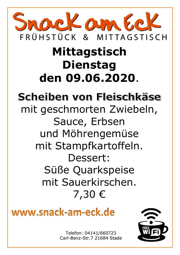 Mittagstisch am 09.06.2020: Scheiben von Fleischkäse mit geschmorten Zwiebeln, Sauce, Erbsen und Möhrengemüse mit Stampfkartoffeln. Dessert: Süße Quarkspeise mit Sauerkirschen. 7,30 €