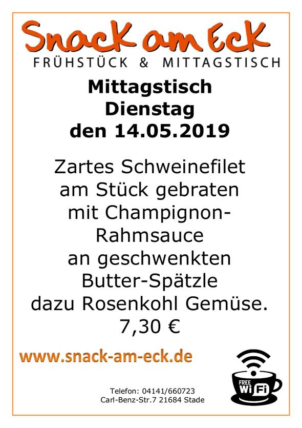 Mittagstisch am 14.05.2019: Zartes Schweinefilet am Stück gebraten mit Champignon-Rahmsauce an geschwenkten Butter-Spätzle dazu Rosenkohl Gemüse. 6,90 €