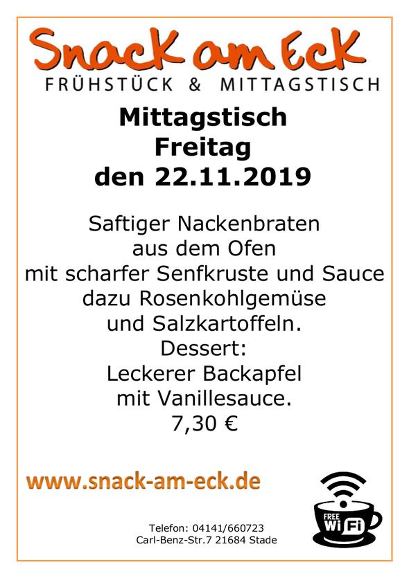 Mittagstisch am Freitag den 22.11.2019: Saftiger Nackenbraten aus dem Ofen mit scharfer Senfkruste und  Sauce dazu  Rosenkohlgemüse und Salzkartoffeln. Dessert: Leckere Backapfel mit Vanillesauce.  7,30 €