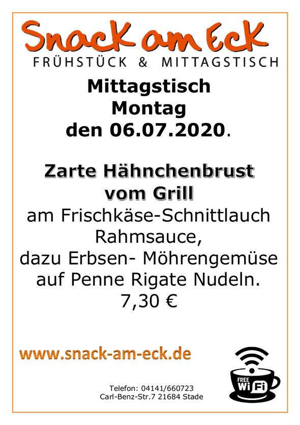 Mittagstisch am Montag den 06.07.2020: Zarte Hähnchenbrust vom Grill am Frischkäse-Schnittlauch Rahmsauce, dazu Erbsen- Möhrengemüse auf Penne Rigate Nudeln. 7,30 €