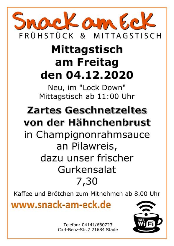 Mittagstisch am Freitag den 04.12.2020: Zartes Geschnetzeltes von der Hähnchenbrust in Champignonrahmsauce an Pilawreis, dazu unser frischer Gurkensalat 7,30
