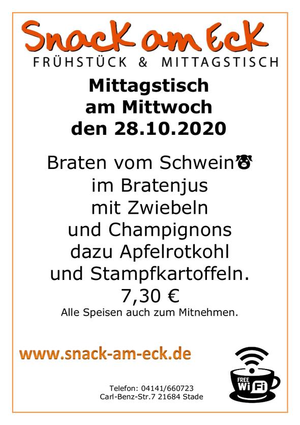 Mittagstisch am Mittwoch den  28.10.2020: Braten vom Schwein🐷 im Bratenjus mit Zwiebeln und Champginons dazu Apfelrotkohl und Stampfkartoffeln. 7,30 €