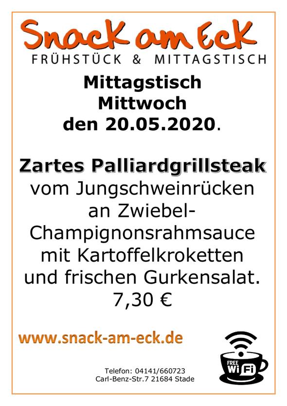 Mittagstisch am mittwoch den 20.05.2020: Zartes Palliardgrillsteak vom Jungschweinrücken an Zwiebel- Champignonsrahmsauce mit Kartoffelkroketten und frischen Gurkensalat. 7,30 €