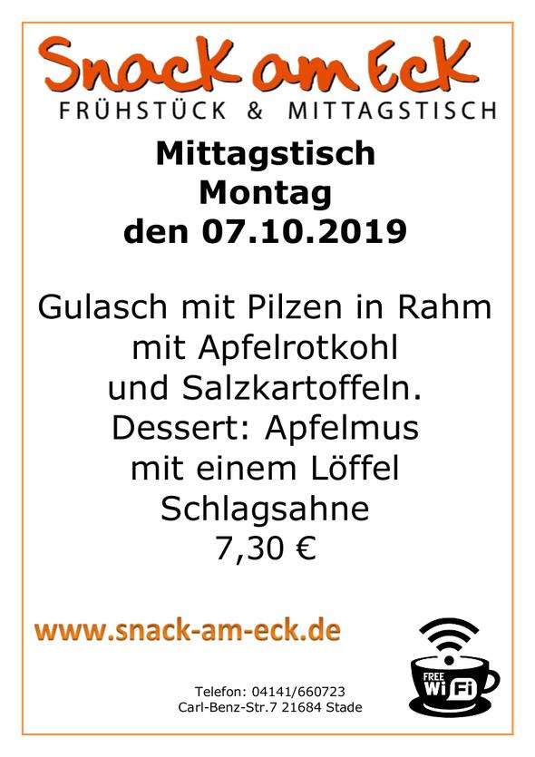 Mittagstisch am Montag den 07.10.2019: Gulasch mit Pilzen in Rahm mit Apfelrotkohl und Salzkartoffeln. Dessert: Apfelmus mit einem Löffel Schlagsahne 7,30 €