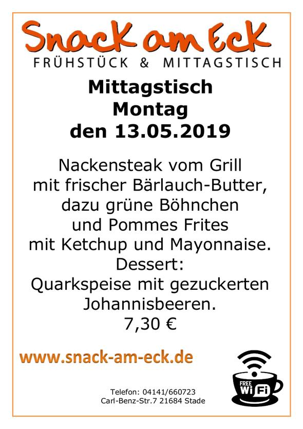 Mittagstisch am Montag den 13.05.2019: Nackensteak vom Grill mit frischer Bärlauch-Butter, dazu grüne Böhnchen und Pommes Frites mit Ketchup und Mayonnaise. Dessert: Quarkspeise mit gezuckerten Johannisbeeren.. 7,30 €