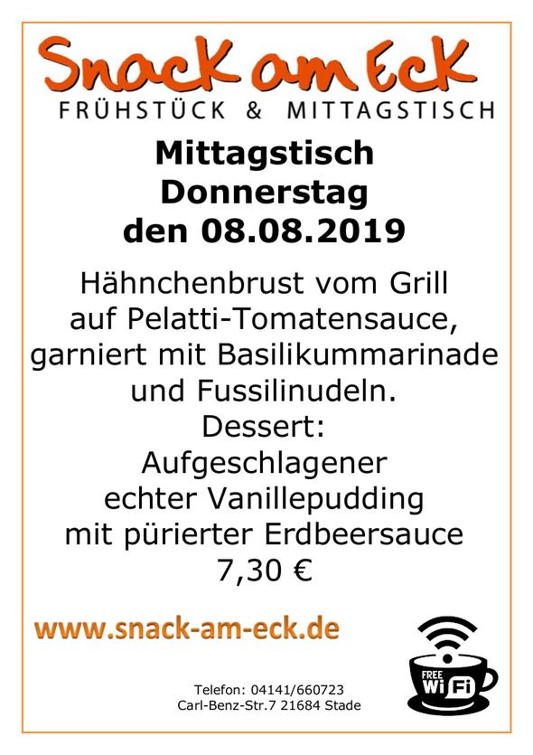 Mittagstisch am Mittwoch den 08.08.2019: Hähnchenbrust vom Grill auf Pelatti-Tomatensauce, garniert mit Basilikummarinade und Fussilinudeln. Dessert: Aufgeschlagener echter Vanillepudding mit pürierter Erbeersauce  7,30 €