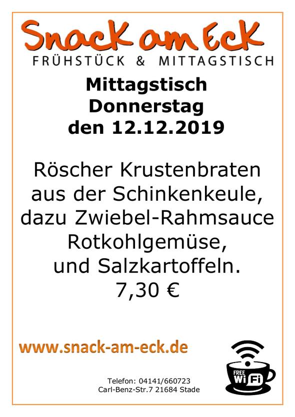 Mittagstisch am Donnerstag den 12.12.2019: Röscher Krustenbraten aus der Schinkenkeule, dazu Zwiebel-Rahmsauce, Rotkohlgemüse, und Salzkartoffeln.  7,30 €