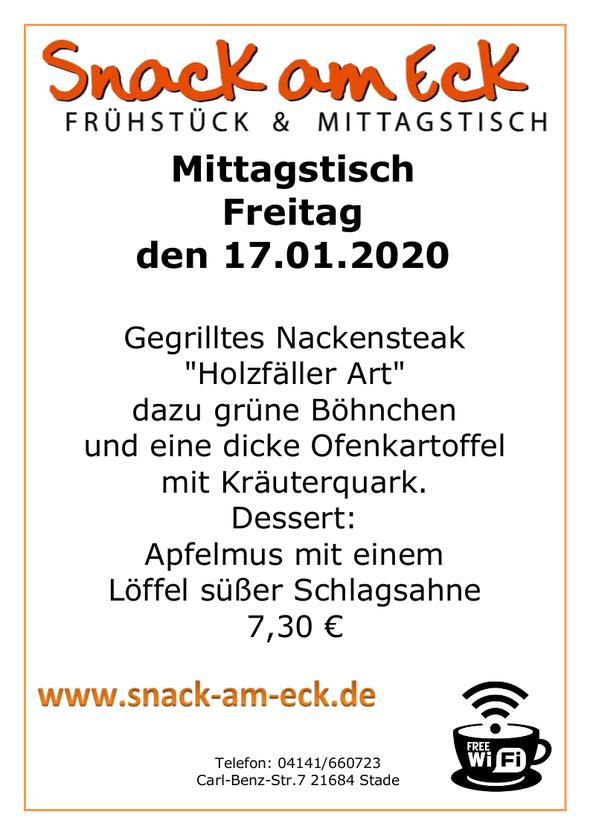 """Mittagstisch am Freitag den 17.01.2019: Gegrilltes Nackensteak """"Holzfäller Art"""" dazu, grüne Böhnchen und eine dicke Ofenkartofel mit Kräuterquark. Dessert: Apfelmus mit einem Löffel süßer Schlagsahne 7,30 €"""