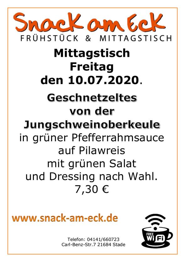 Mittagstisch am Freitag den 10.07.2020: Geschnetzeltes von der Jungschweinoberkeule in grüner Pfefferrahmsauce auf Pilawreis mit grünen Salat und Dressing nach Wahl. 7,30 €