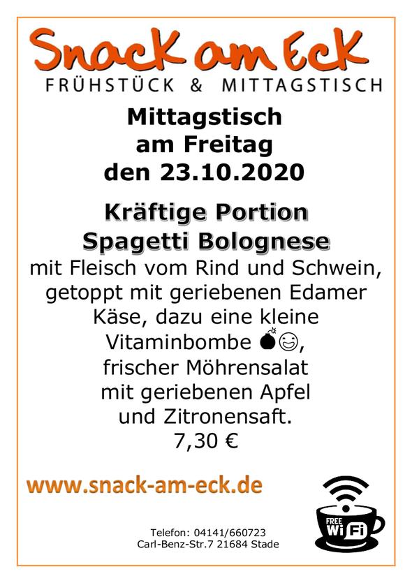 Mittagstisch am Freitag den 23.10.2020: Kräftige Portion Spagetti Bolognese mit  Fleisch vom Rind und Schwein, getoppt mit geriebenen Edamer Käse, dazu eine kleine Vitaminbombe 💣😃, frischer Möhrensalat mit geriebenen Apfel und Zitronensaft. 7,30 €