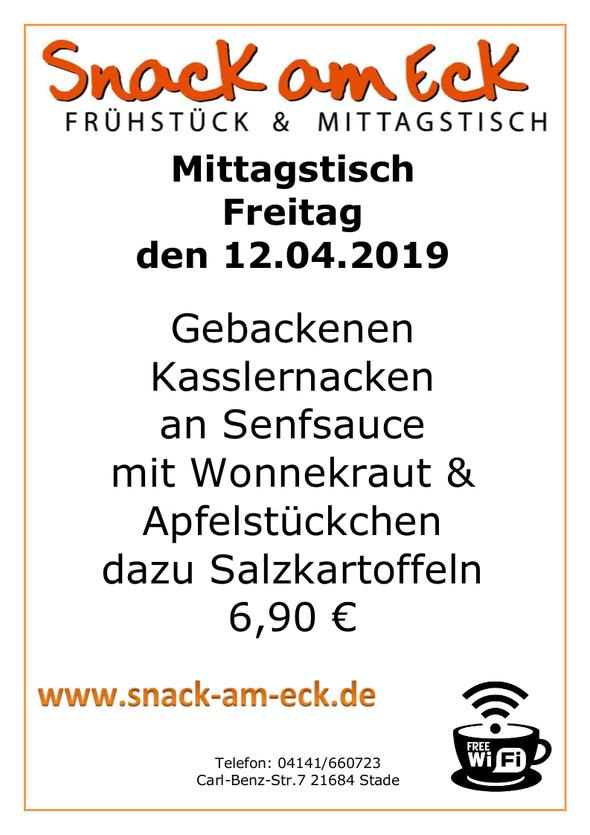 Mittagstisch am Freitag den 12.04.2019: Gebackenen Kasslernacken an Senfsauce mit Wonnekraut & Apfelstückchen dazu Salzkartoffeln 6,90 €