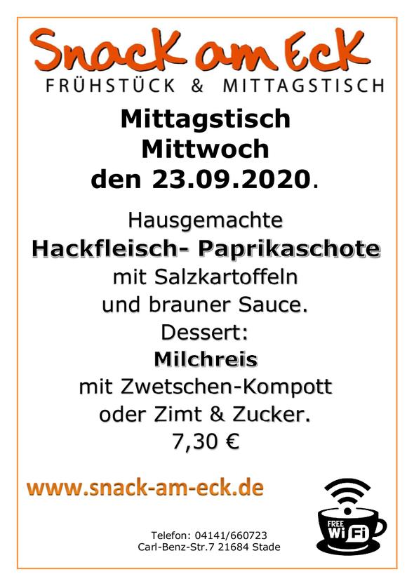 Mittagstisch am Mittwoch den 23.09.2020: Hausgemachte Hackfleisch- Paprikaschote mit Salzkartoffeln  und brauner Sauce, Dessert: Milchreis mit Zwetschen-Kompott oder Zimt & Zucker. 7,30 €