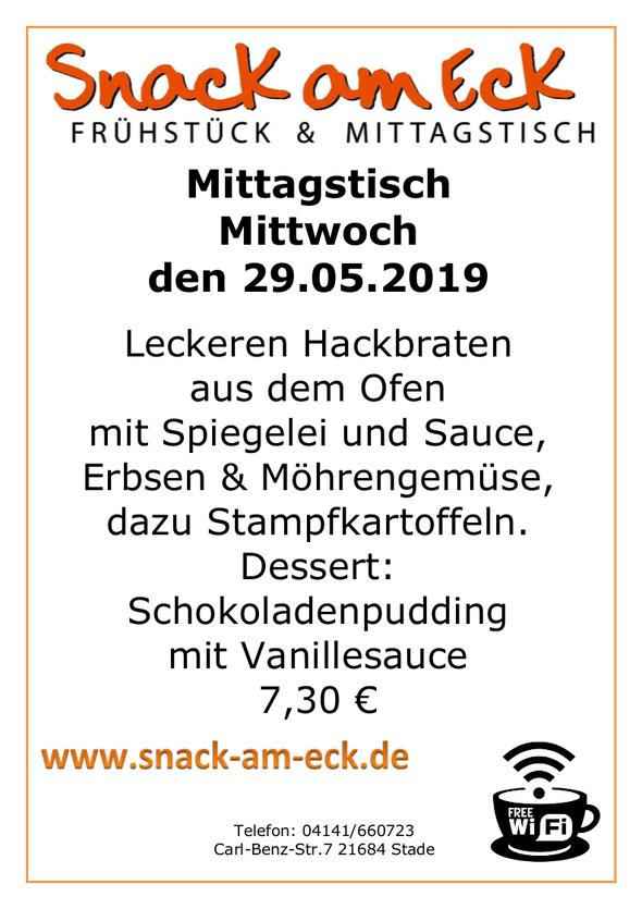 Mittagstisch am Mittwoch den 29.05.2019: Leckeren Hackbraten aus den Ofen mit Spiegelei und Sauce, Erbsen & Möhrengemüse, dazu Stampfkartoffeln. Dessert: Schokoladenpudding mit Vanillesauce 7,30 €