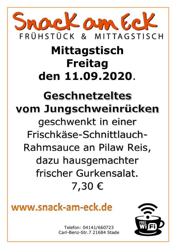 Mittagstisch am Freitag den 11.09.2020: Geschnetzeltes vom Jungschweinrücken geschwenkt in einer Frischkäse- Schnittlauch Rahmsauce an Pilaw Reis, dazu hausgemachter frischer Gurkensalat. 7,30 €