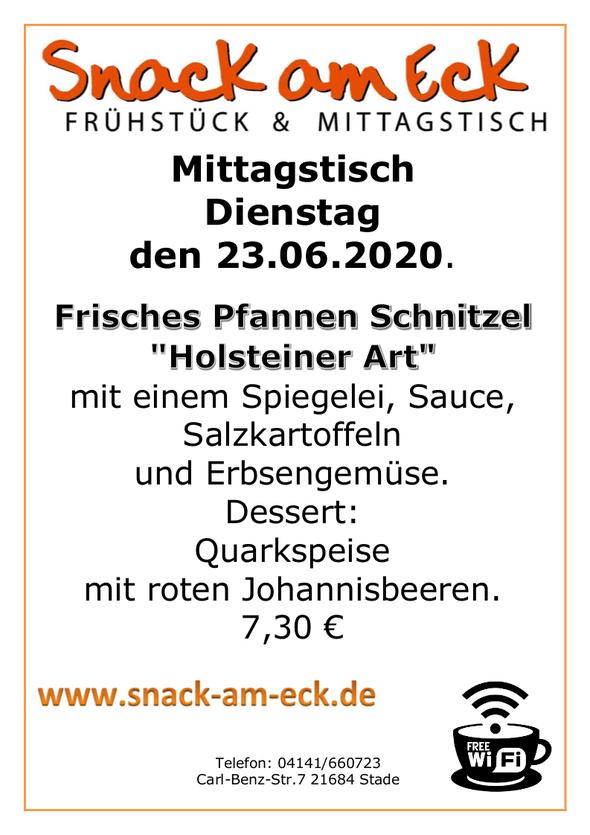 """Mittagstisch am Dienstag den 23.06.2020: Frisches Pfannen Schnitzel """"Holsteiner Art"""" mit einem Spiegelei, Sauce, Salzkartoffeln und Erbsengemüse. Dessert: Quarkspeise mit roten Johannisbeeren. 7,30 €"""
