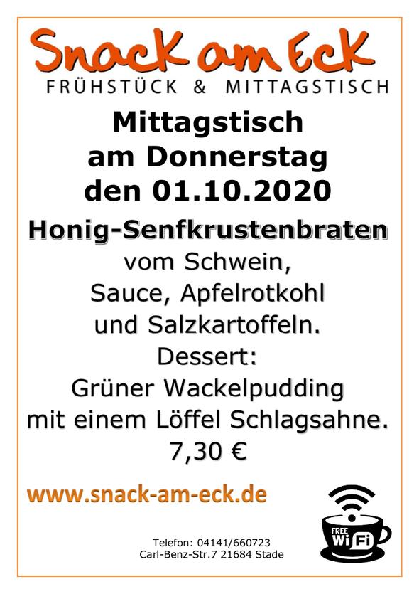 Mittagstisch am Donnerstag den 01.10.2020: Honig-Senfkrustenbraten vom Schwein, Sauce, Apfelrotkohl und Salzkartoffeln. Dessert. Grüner Wackelpudding mit einem Löffel Schlagsahne. 7,30 €