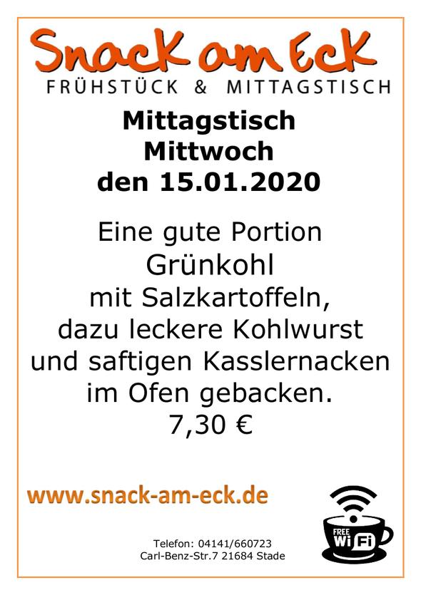 Mittagstisch am mittwoch den 15.01.2019: Eine gute Portion Grünkohl mit Salzkartoffeln, dazu leckere Kohlwurst und saftigen Kasslernacken im Ofen gebacken. 7,30 €