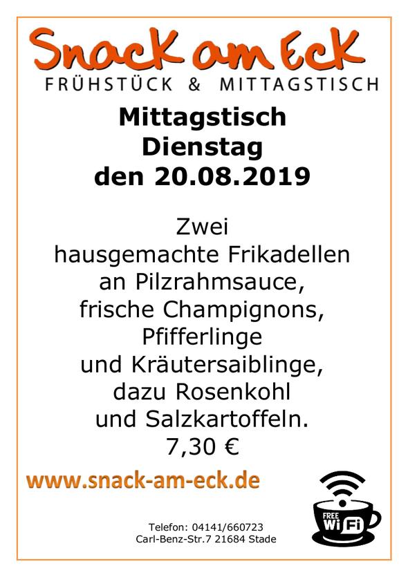 Mittagstisch am Dienstag den 20.08.2019: Zwei hausgemachte Frikadellen an Pilzrahmsauce, frische Champignons, Pfifferlinge, Kräutersaiblinge, dazu Rosenkohl und Salzkartoffeln 7,30 €