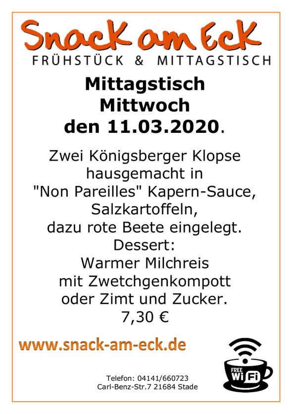 """Mittagstisch am Mittwoch den 11.03.2020: Zwei Königsberger Klopse hausgemacht in """"Non Pareilles"""" Kapern-Sauce, Salzkartoffeln, dazu rote Beete eingelegt. Dessert: Warmer Milchreis mit Zwetchgenkompott oder Zimt und Zucker 7,30 €"""