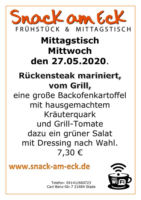 Mittagstisch am mittwoch den 27.05.2020: Nackensteak mariniert, vom Grill, dazu Backofenkartoffel mit hausgemachten  Kräuterquark und Grill-Tomate dazu ein grüner Salat mit Dressing nach Wahl. 7,30 €