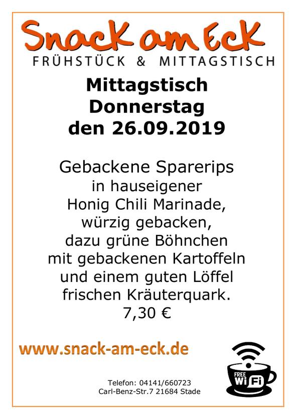 Mittagstisch am Donnerstag den 26.09.2019: Frische Sparerips in hauseigener Honig Chili Marinade, würzig gebacken, dazu grüne Böhnchen mit gebackenen Kartoffeln mit einem guten Löffel frischen Kräuterquark. 7,30 €