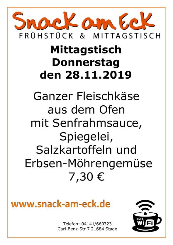 Mittagstisch am Donnerstag den 28.11.2019: Ganzer Fleischkäse aus dem Ofen mit Senfrahmsauce,Spiegelei, Salzkartoffeln Erbsen-Möhrengemüse 7,30 €