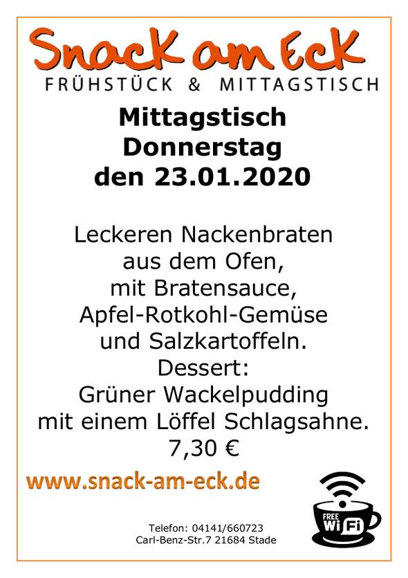 Mittagstisch am Donnerstag den 23.01.20020: Leckeren Nackenbraten aus dem Ofen mit Bratensauce, Apfel-Rotkohl-Gemüse und Salzkartoffeln. Dessert: Grüner Wackelpudding mit einem Löffel Schlagsahne. 7,30 €