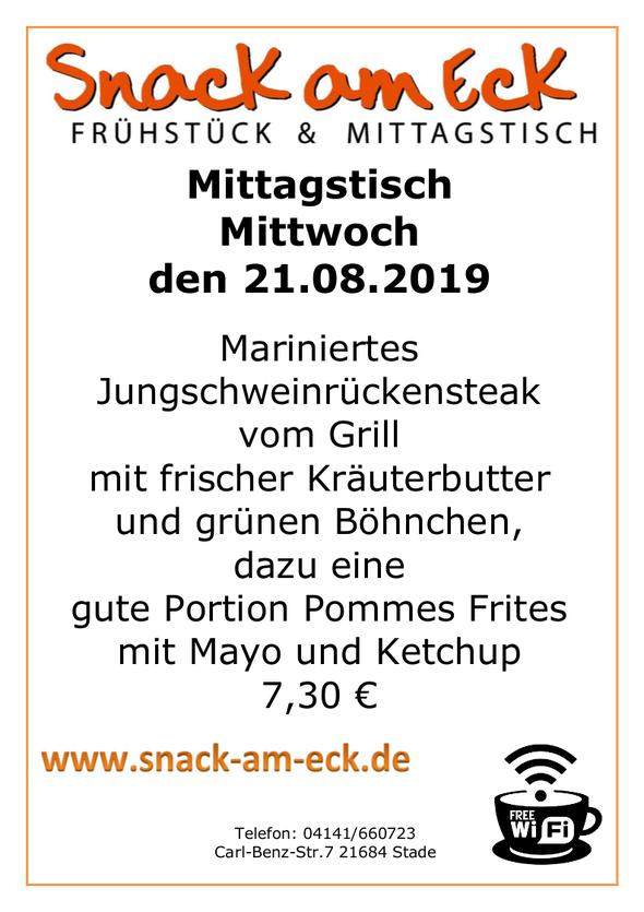 Mittagstisch am Montag den 21.08.2019: Mariniertes Jungschweinrückensteak vom Grill mit frischer Kräuterbutter und grünen Böhnchen, dazu eine gute Portion Pommes Frites mit Mayo und Ketchup 7,30 €