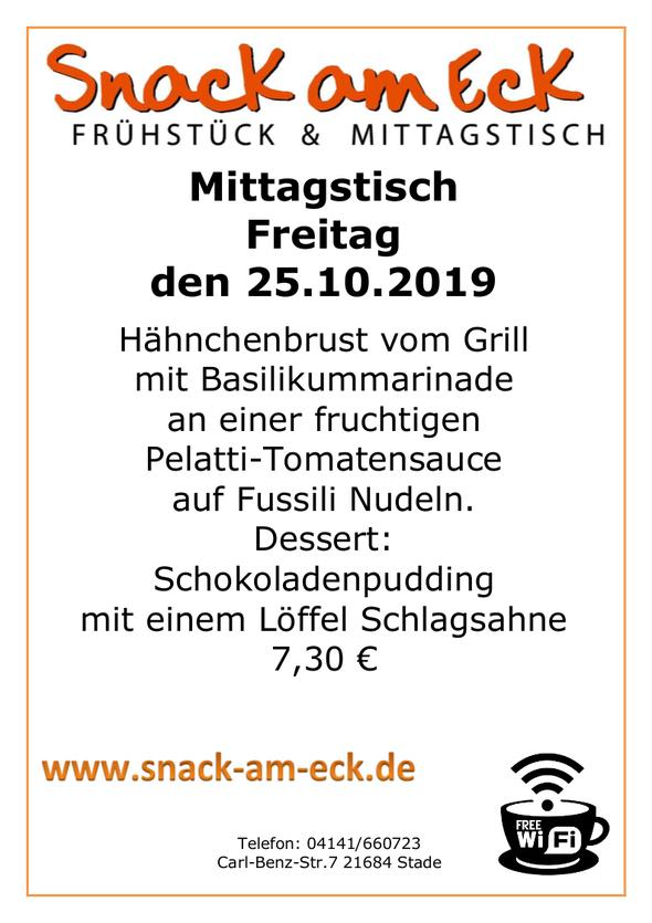 mittagstisch am Freitag den 25.10.2019: Hähnchenbrust vom Grill mit Basilikummarinade an einer fruchtigen Pelatti-Tomatensauce auf Fussili Nudeln. Dessert: Schokoladenpudding mit einem Löffel Schlagsahne 7,30 €
