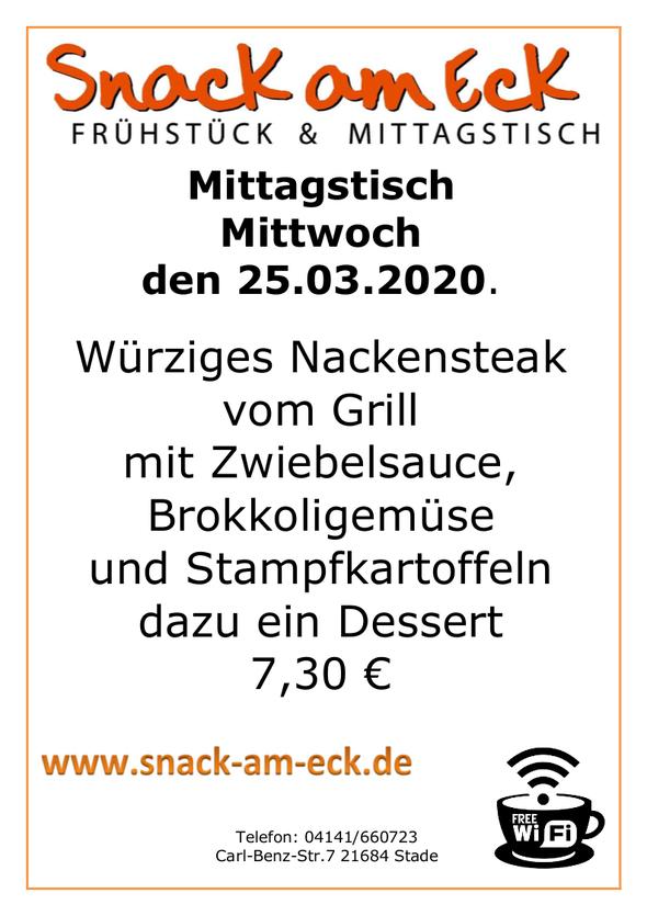 Mittagstisch am Mittwoch den 25.03.2020: Würziges Nackensteak vom Grill mit Zwiebelsauce, grünen Böhnchen und Stampfkartoffeln dazu ein Dessert