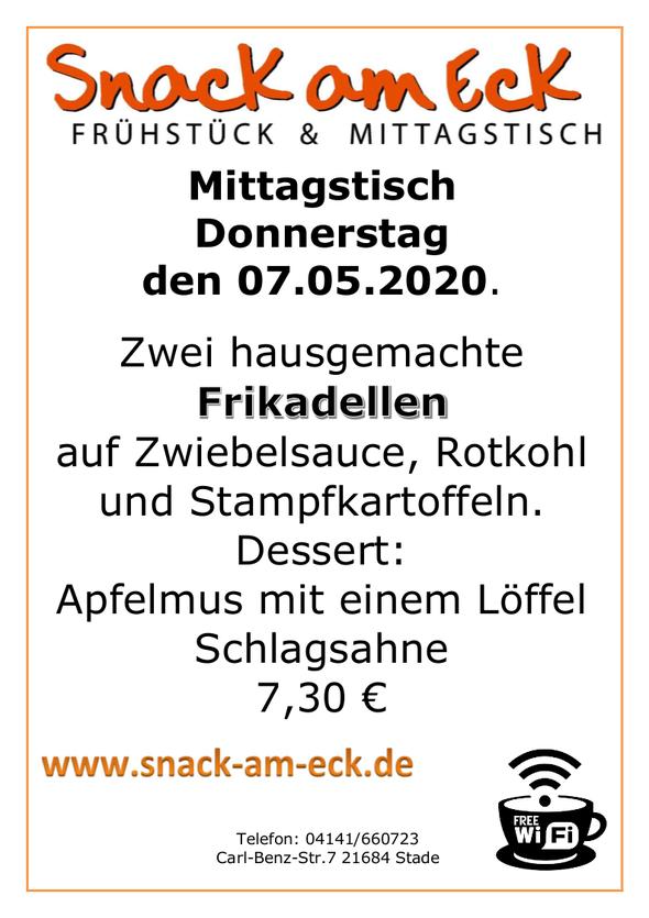 Mittagstisch am Donnerstag den 07.05.2020: Zwei hausgemachte Frikadellen auf Zwiebelsauce, Rotkohl und Stampfkartoffeln. Dessert: Apfelmus mit einem Löffel, Schlagsahne 7,30 €