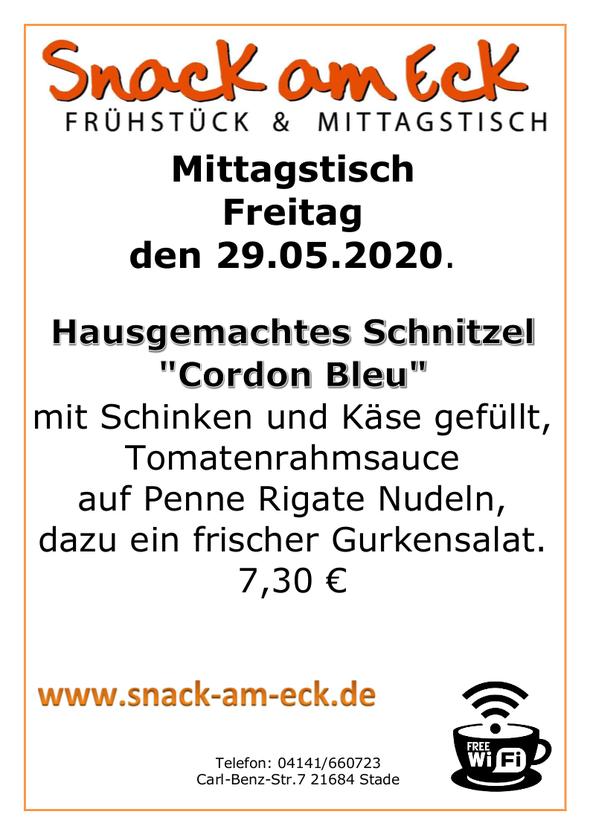 """Mittagstisch am Freitag den 29.05.2020: Hausgemachtes Schnitzel """"Cordon Bleu"""" mit Schinken und Käse gefüllt, Tomatenrahmsauce auf Penne Rigate Nudeln, dazu ein frischer Gurkensalat. 7,30 €"""
