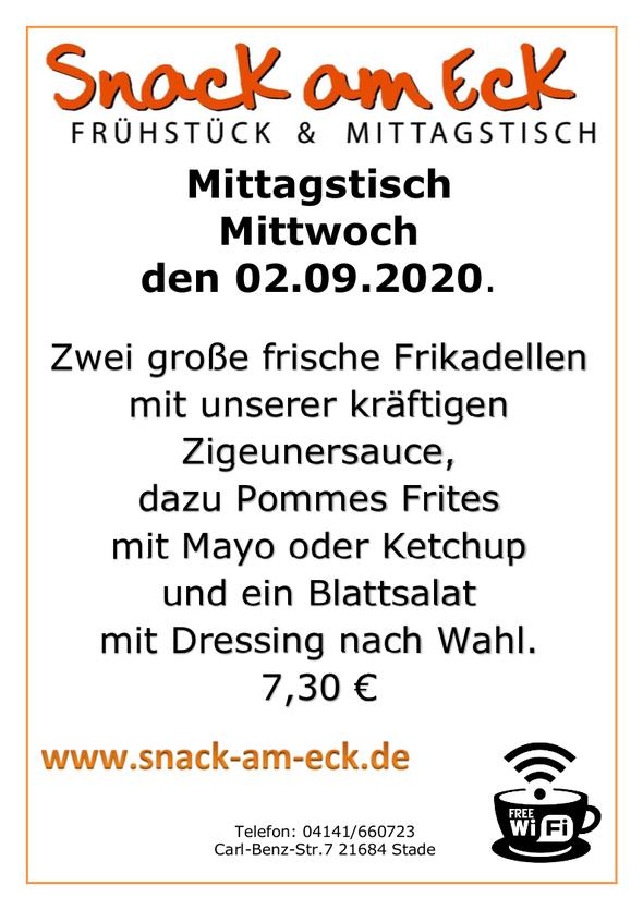 Mittagstisch am Mittwoch den 02.09.2020: Zwei große frische Frikadellen mit unserer kräftigen Zigeunersauce,dazu Pommes Frites mit Mayo oder Ketchup und ein Blattsalat mit Dressing nach Wahl. 7,30 €