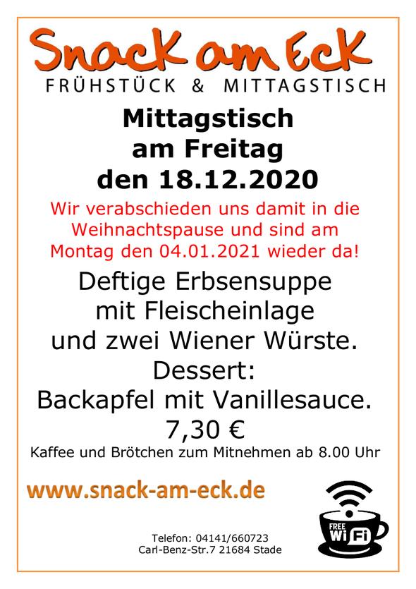 Mittagstisch am Freitag den 18.012.2020: Deftige Erbsensuppe mit Fleischeinlage und zwei Wiener Würste. Dessert: Backapfel mit Vanillesauce. 7,30 €
