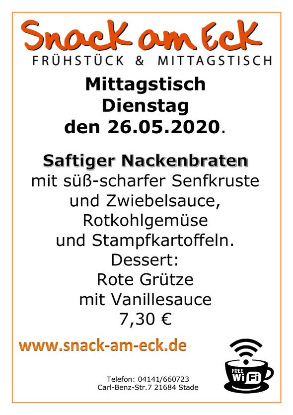 Mittagstisch am Dienstag den 26.05.2020: Saftiger Nackenbraten mit süß-scharfer Senfkruste und Zwiebelsauce, Rotkohlgemüse und Stampfkartoffeln. Dessert: Rote Grütze mit Vanillesauce 7,30 €