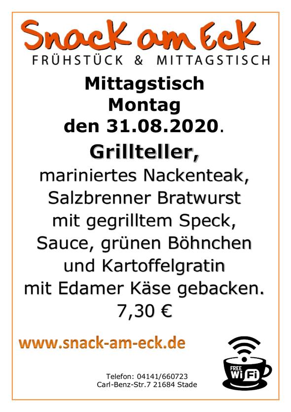 Mittagstisch am Montag den 31.08.2020: Grillteller, mariniertes Nackenteak, Salzbrenner Bratwurst mit gegrilltem Speck, Sauce, grünen Böhnchen und Kartoffelgratin mit Edamer Käse gebacken. 7,30 €