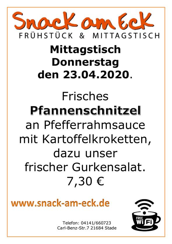 Mittagstisch am Donnerstag den 23.04.2020: Frisches Pfannenschnitzel an Pfefferrahmsauce mit Kartoffelkroketten, dazu unser frischer Gurkensalat. 7,30 €