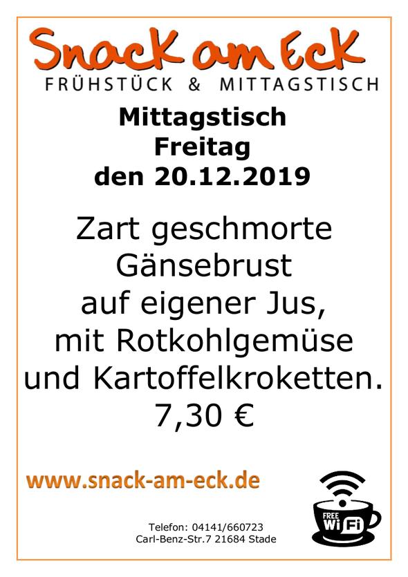 Mittagstisch am Freitag den 20.12.2019: Zart geschmorte Gänsebrust auf eigener Jus, mit Rotkohlgemüse und Kartoffelkroketten.  7,30€