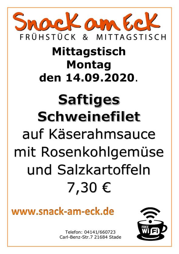 Mittagstisch am Montag den 14.09.2020: Saftiges Schweinefilet auf  Käserahmsauce mit Rosenkohlgemüse und Salzkartoffeln 7,30 €
